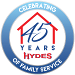 Hyde's AC 45 Year Celebration logo